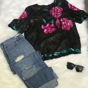 Royal feelings sequin rose top vintage blouse